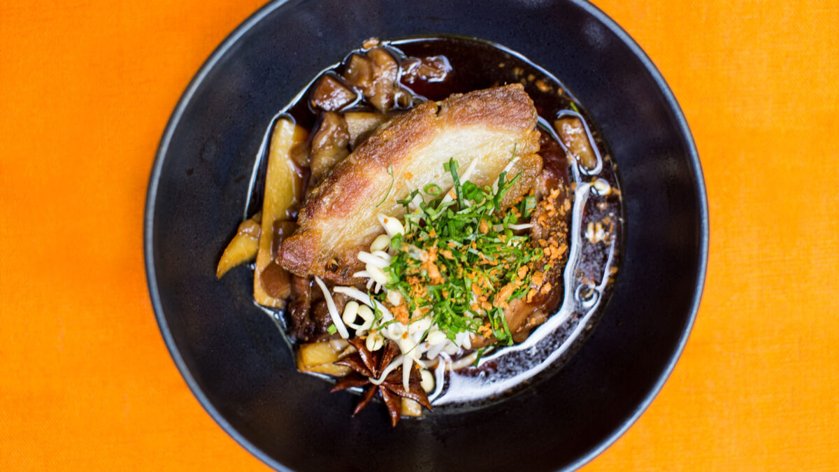 CWD Caramelized palm sugar braised pork shank with star anis bambo shoots and crispy breast 2